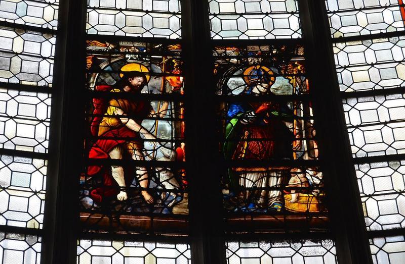 3 verrières de la chapelle des fonts baptismaux : Le Baptême du Christ, Le Saint-Esprit, Le Christ et saint Nicolas