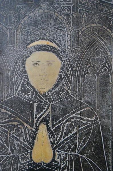 dalle funéraire du chanoine Toussaint de La Ruelle, détail
