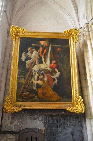 tableau, cadre : Descente de croix, vue générale