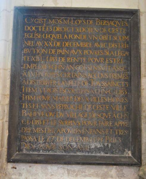 plaque funéraire de Louis de Bersaques, vue générale