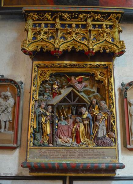 monument funéraire d'Antoine de Tramecourt : Nativité le donateur accompagné de saint Antoine et trois saints (la), vue générale