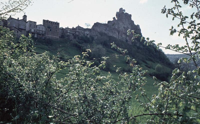 Vue générale du village et ruines du château
