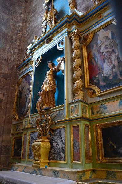 retable de l'Ange Gardien ; 2 statues : Saint Michel, l'Ange Gabriel ; 2 tableaux : l'Annonciation, Tobie et l'Ange, vue partielle