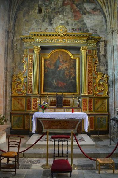 autel, retable, tableau : Vierge à l'Enfant entourée par des anges, vue générale