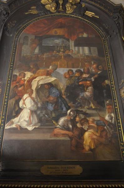 Tableau : Saint Pierre Nolasque recevant l'habit de l'ordre de la Merci des mains de Béranger, évêque de Barcelone