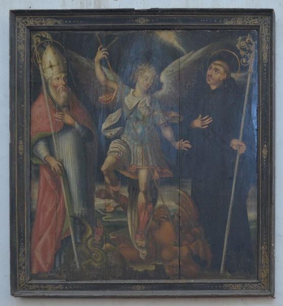 tableau : saint Michel entre saint Benoît et un saint abbé, vue générale