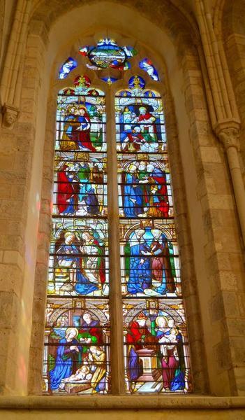 verrière : histoire de la Vierge, vue générale