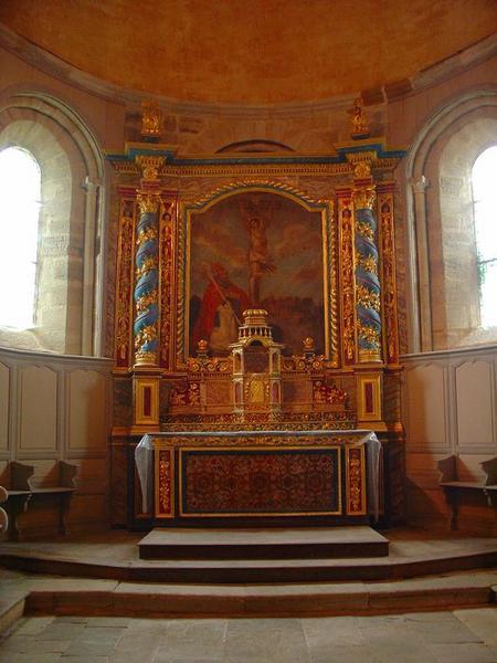 Ensemble du maître-autel (autel, antependium, 2 gradins, tabernacle, exposition, retable, tableau)