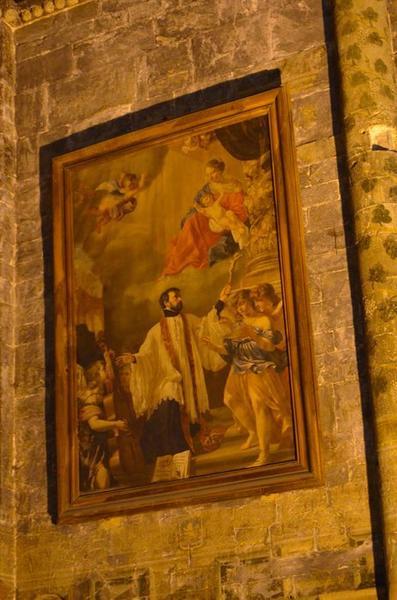 Tableau : saint François Xavier entouré d'anges musiciens