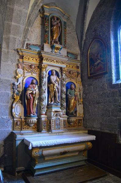 Retable de Saint-Jean-Baptiste et ses trois statues : Saint Jean-Baptiste, Saint Luc et Saint Barthélémy
