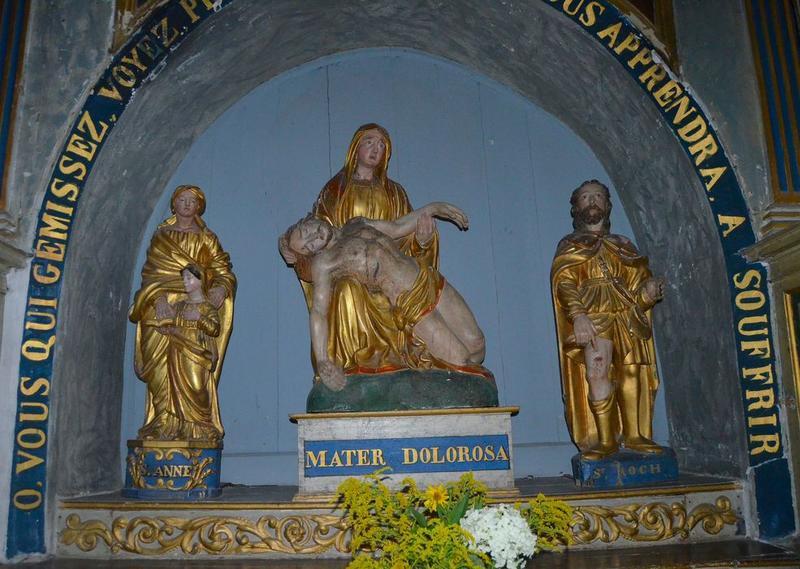 statue: saint Roch, groupes sculptés: Vierge de pitié, Education de la Vierge (l'), vue générale