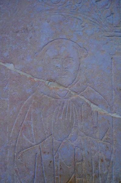 Dalle funéraire de Guy Colot et de sa femme Marguerite d'Aise, détail