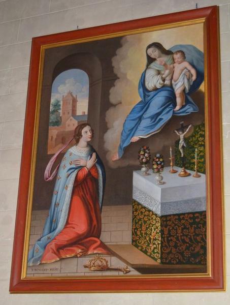Tableau, cadre : Apparition de la Vierge et de l'Enfant Jésus à sainte Jeanne de France, dit fiançailles mystiques de sainte Jeanne de France, vue générale
