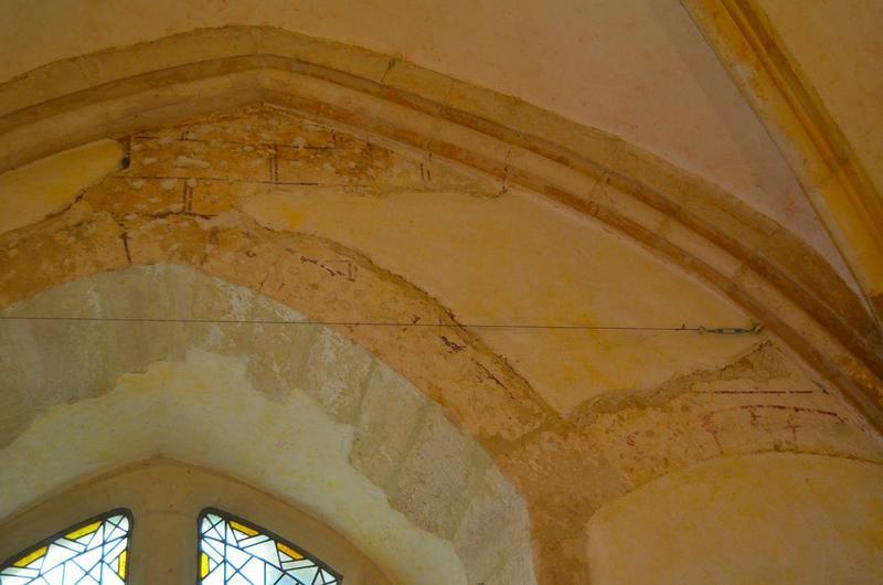 Salle du rez-de-chaussée, au nord du cellier, peinture monumentale, vue partielle