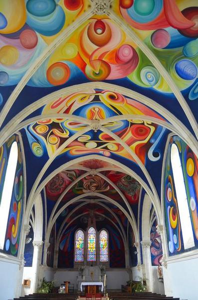 Peintures monumentales, vue générale de la nef