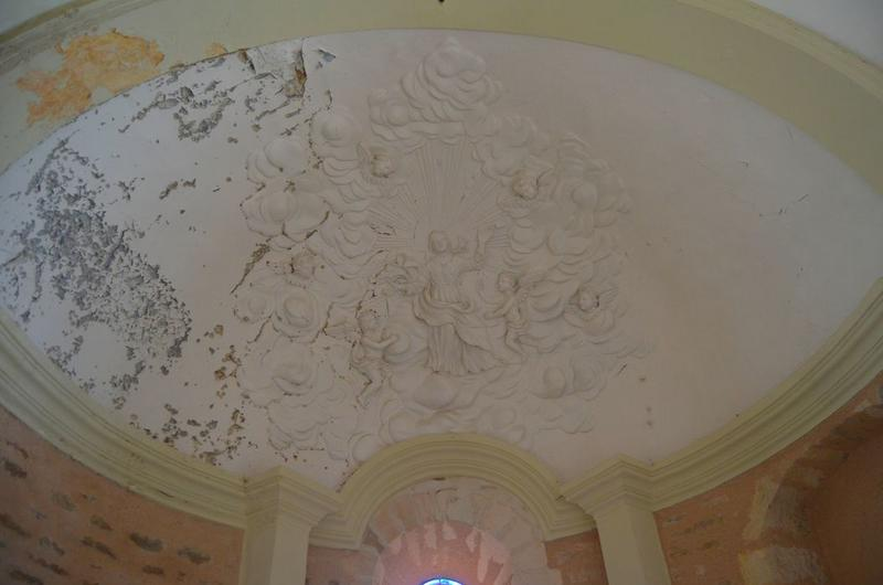 Choeur, détail du décor en stuc de la voûte: Assomption (l')