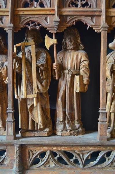 Retable : la Crucifixion et les apôtres, détail