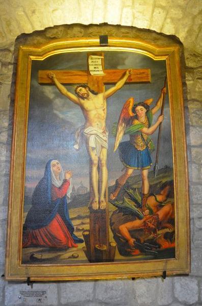 Tableau : le Christ en croix, la Vierge et saint Michel terrassant le dragon
