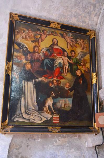 tableau : la Vierge du Rosaire entre saint Dominique et saint Simon Stock, vue générale