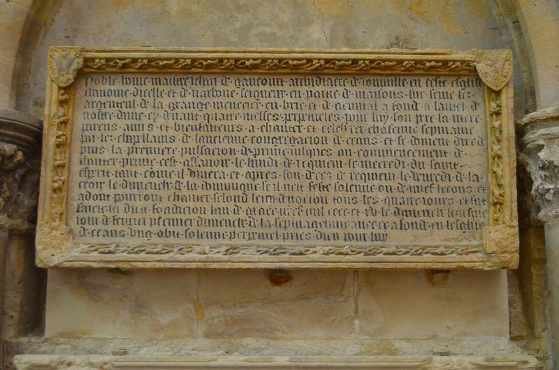 plaque funéraire de Jean de Gaucourt, archidiacre de Joinville, vue générale