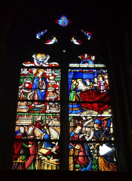 Verrière : Scènes de la vie et litanies de la Vierge