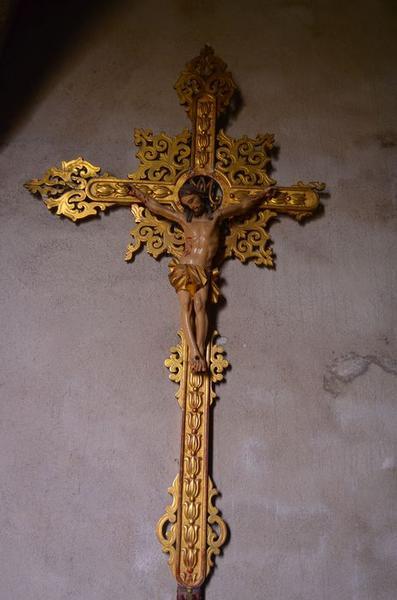Croix de procession et sa statue (statuette) : Christ en croix