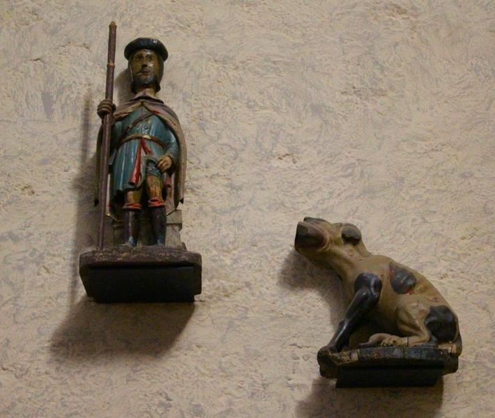 Deux statues : Saint Roch et Chien