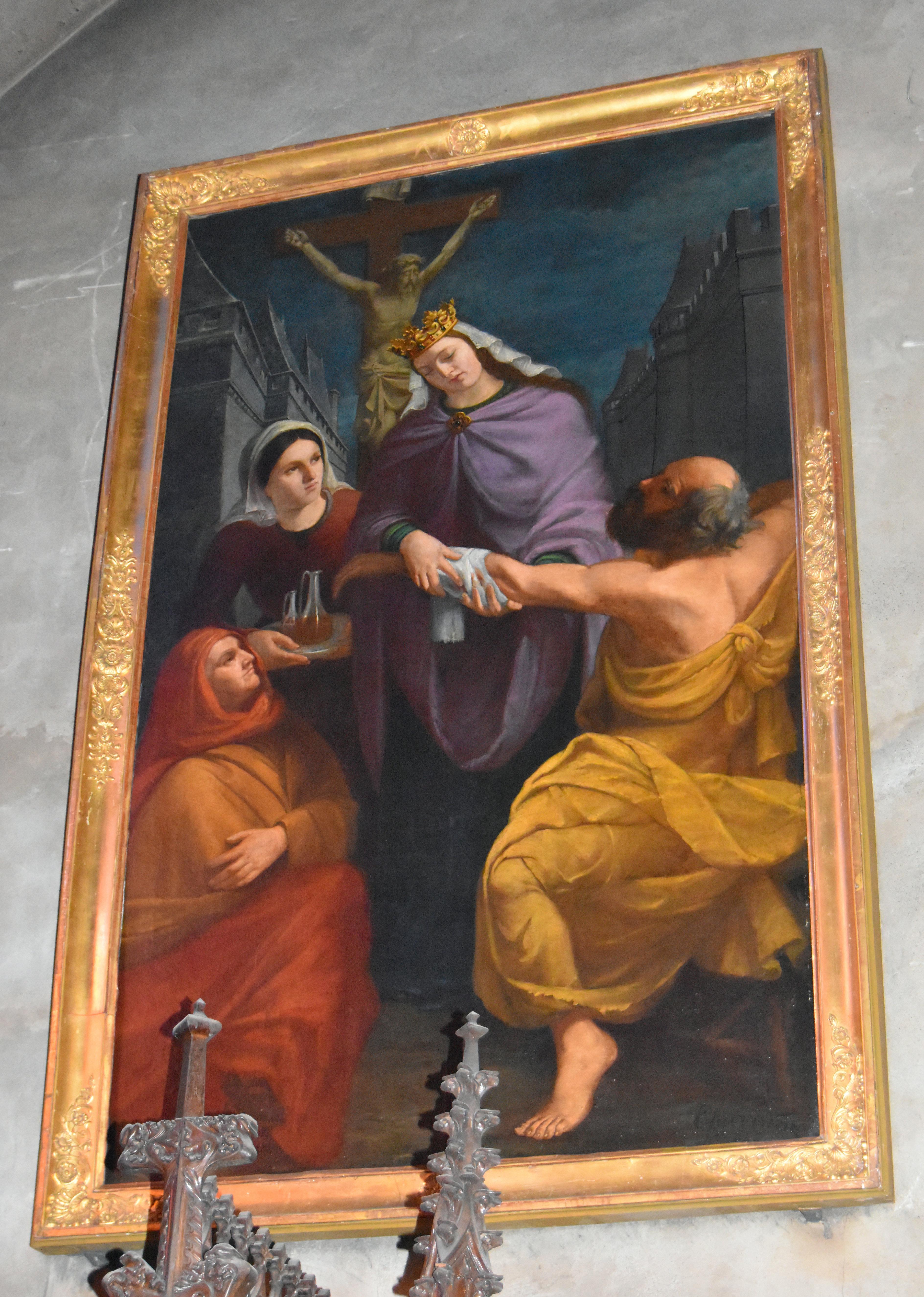 Tableau : Sainte Elisabeth de Hongrie soignant un blessé
