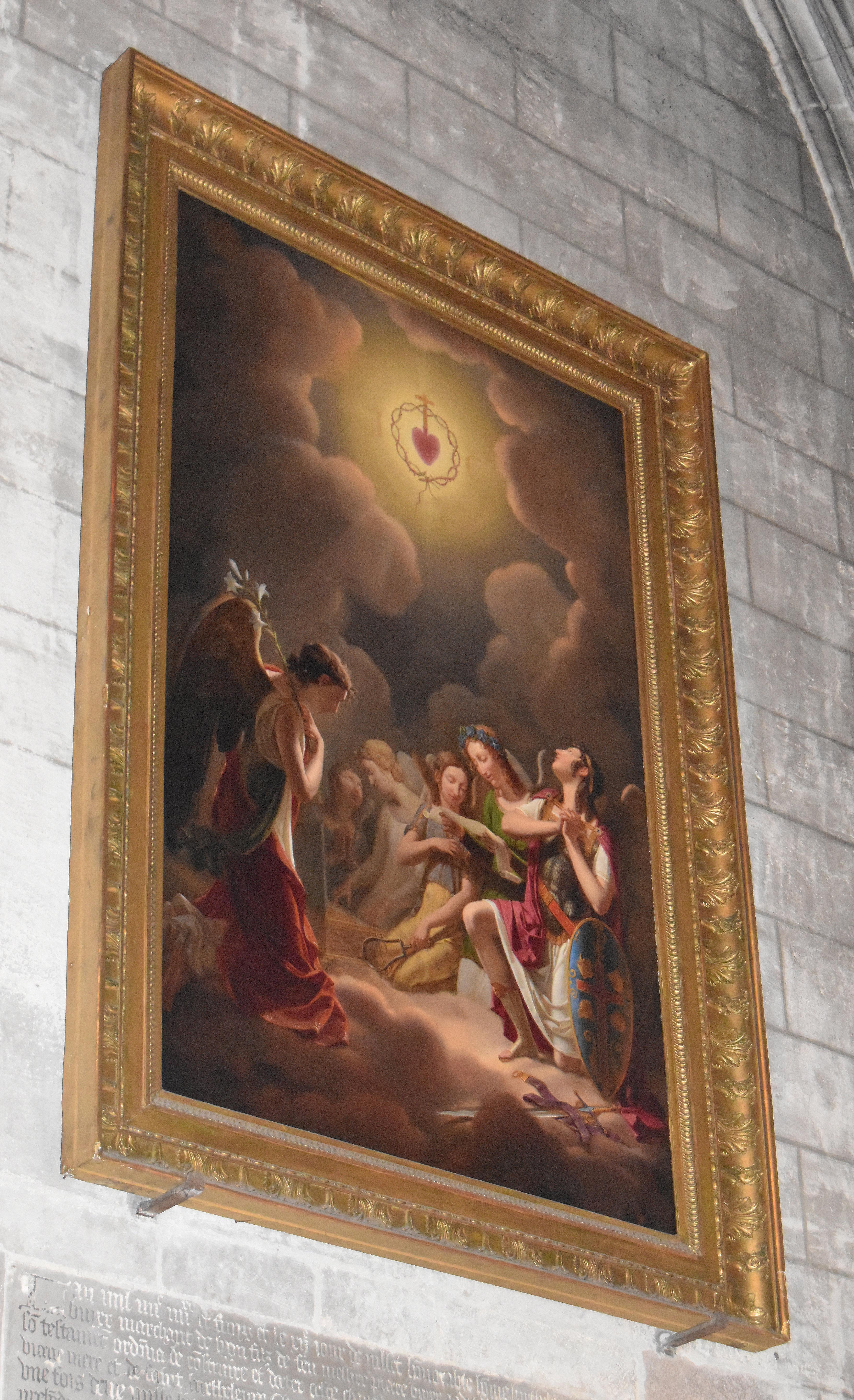 tableau d'autel et cadre : l'Honneur au sacré Coeur de Jésus