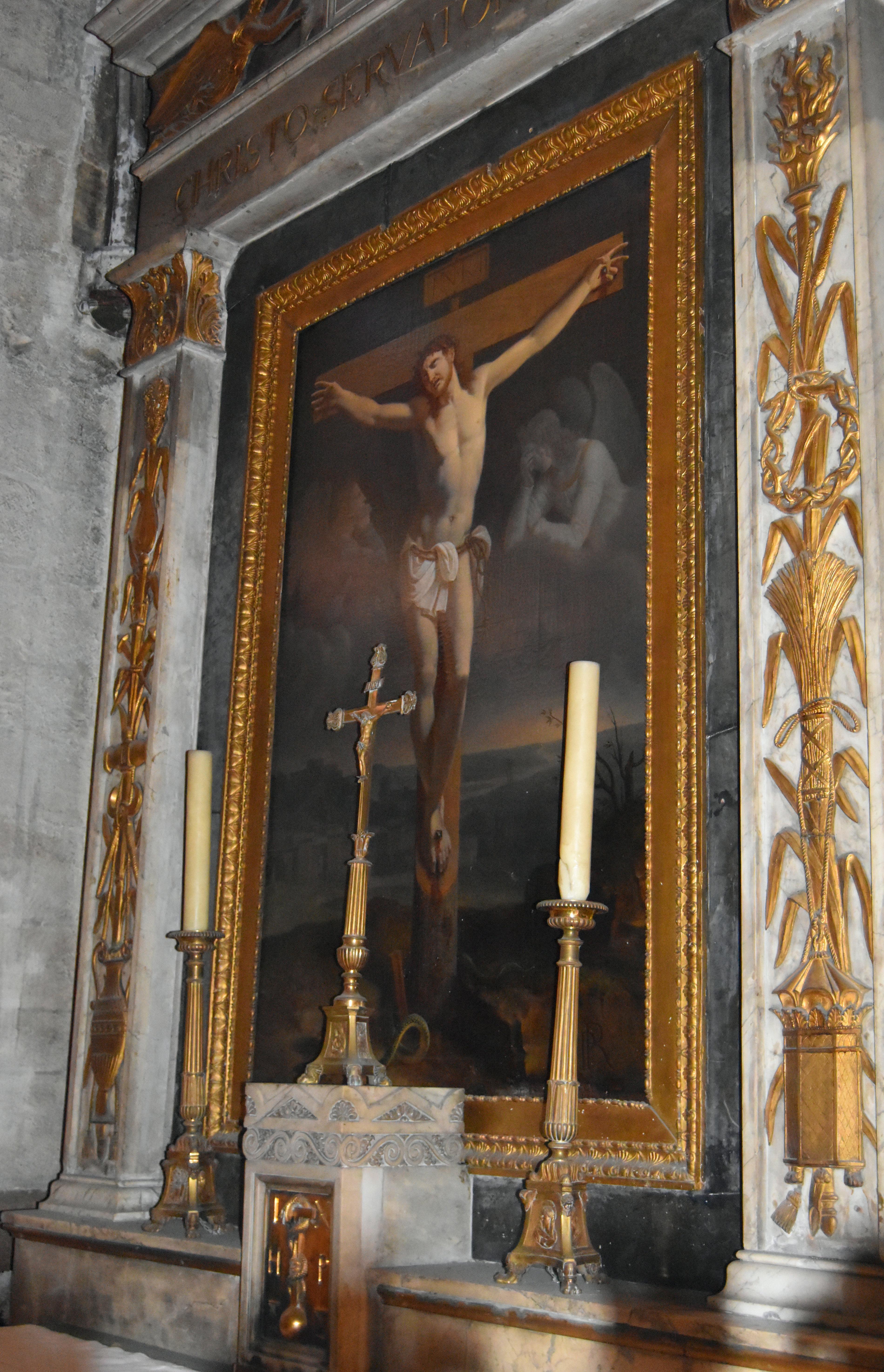 Tableau d'autel et cadre : le Christ en croix