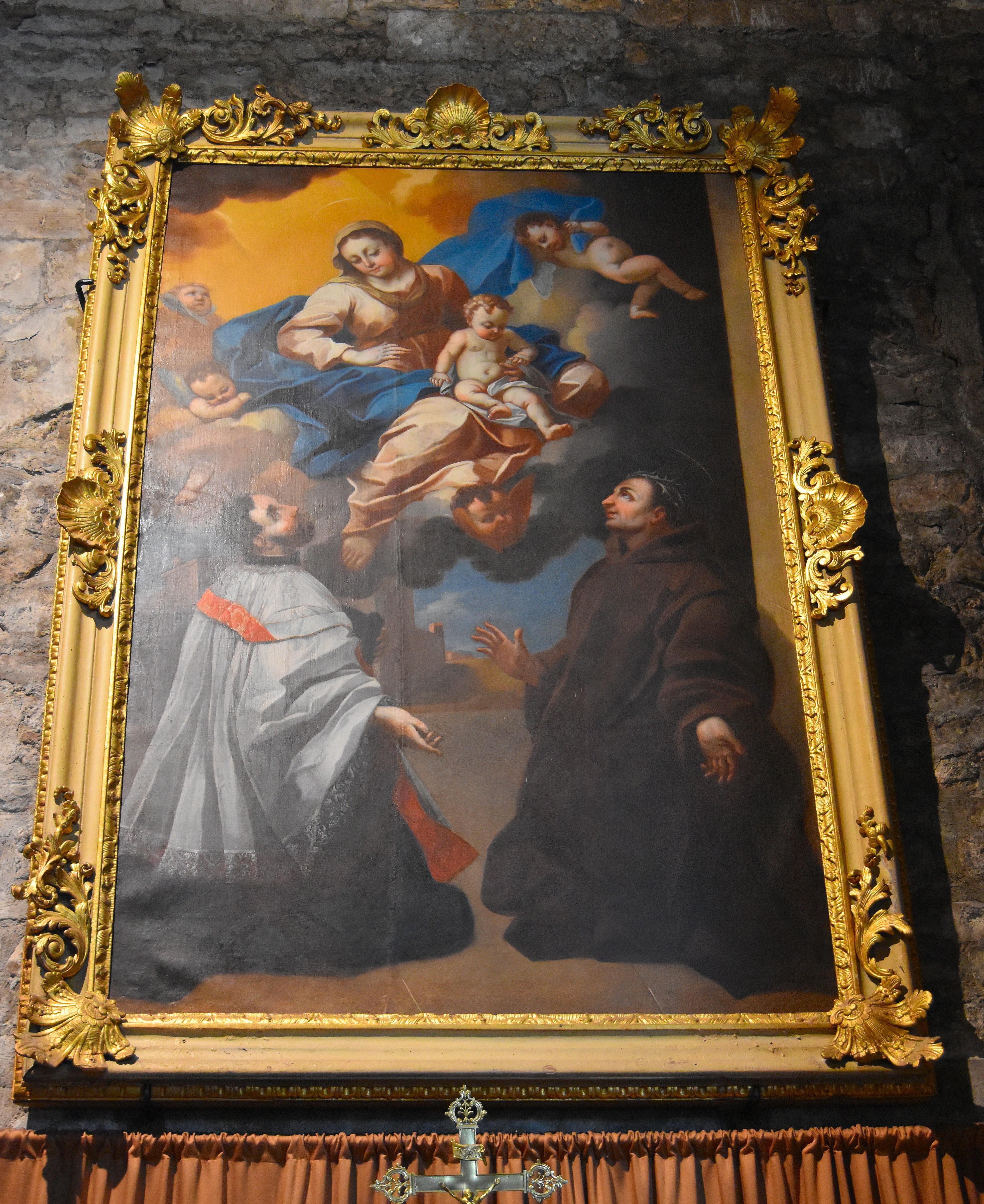 Tableau : Vierge à l'Enfant, saint François Xavier et saint Fiacre intercesseurs (La )