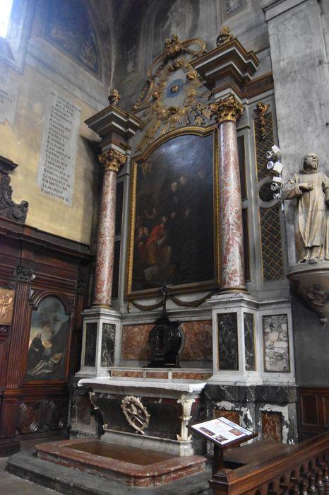 Tableau du retable de Saint-Benoît : Totila, roi des Ostrogoths, visitant saint Benoît