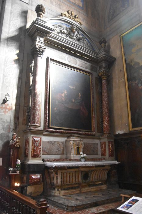Tableau du retable des fonts baptismaux : Nicodème s'entretenant avec le Christ