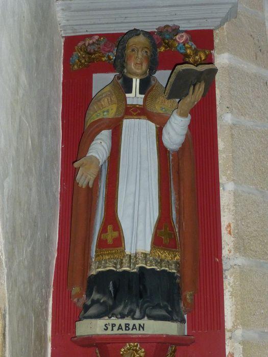 Statue ; niche : Saint Paban en chape, vue générale