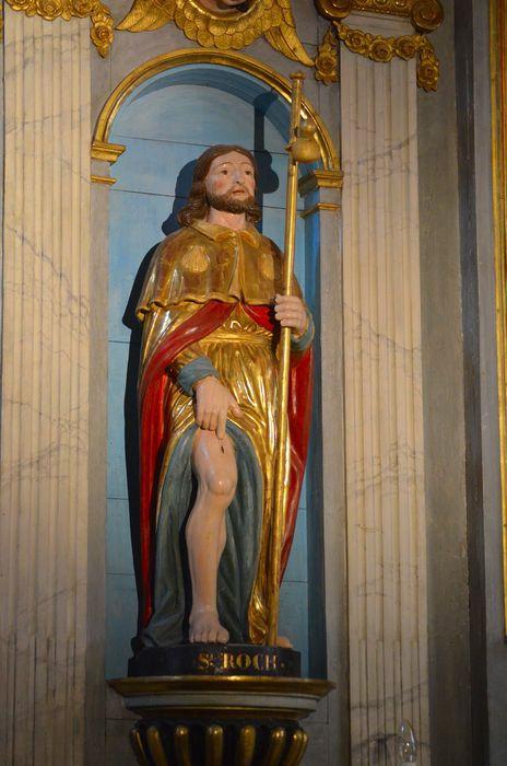 Retable de la Vierge, son autel, et ses trois statues : Vierge à l'Enfant, Sainte Agnès et Saint Roch