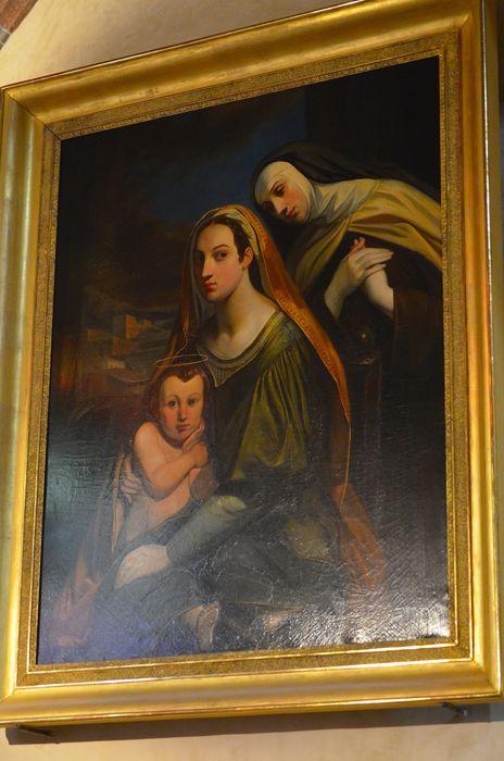 Tableau et son cadre : Vierge à l'Enfant avec sainte Thérèse d'Avila