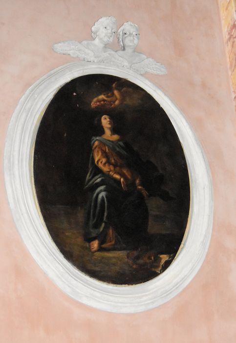 2 tableaux et leurs cadres (en pendant) : sainte Cécile et le Christ de Pitié
