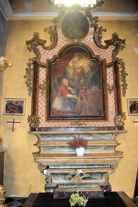 Autel retable de saint Charles-Borromée, 2 tableaux : Saint Charles Borromée et le mariage mystique de sainte Catherine, la Vierge du Pilar