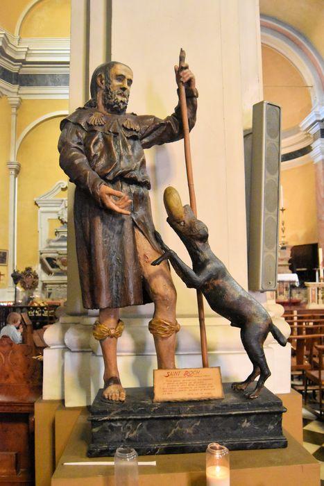 Groupe sculpté de procession : Saint Roch et le chien