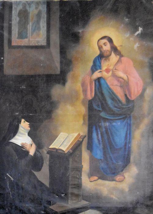 Tableau et son cadre : Apparition du Sacré-Coeur de Jésus à Marguerite-Marie Alacocque