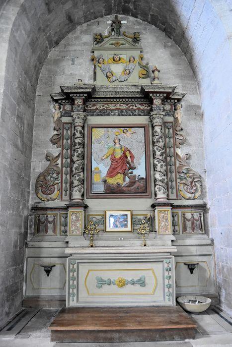 autel, retable, bas-relief: Sainte Catherine (autel secondaire)