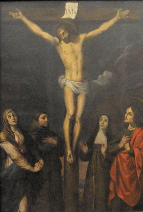 Tableau: Crucifixion (la) entre la Vierge, saint Jean, sainte Claire et saint François
