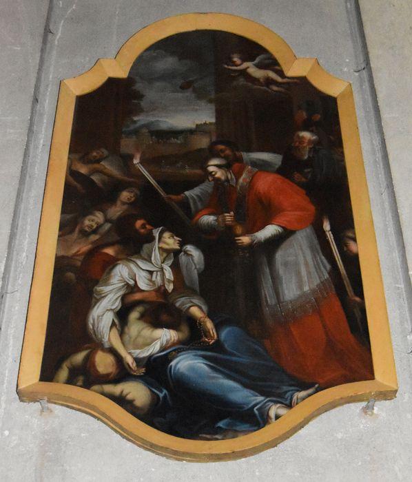 tableau, cadre: Saint Charles Borromée visitant les pestiférés