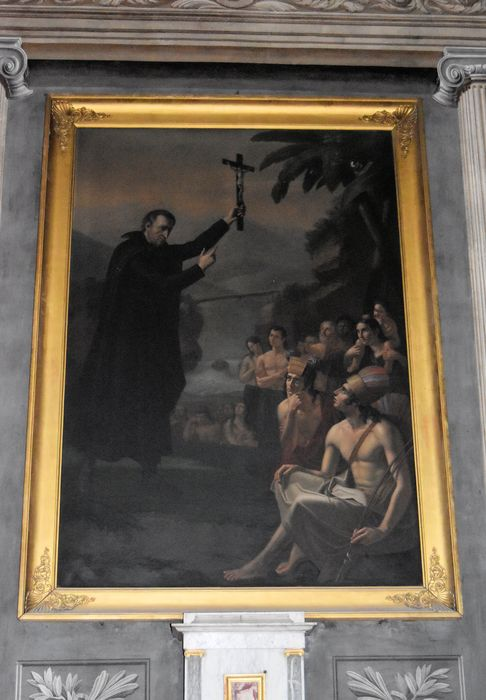 tableau, cadre: Saint François-Solan évangélisant les Indiens