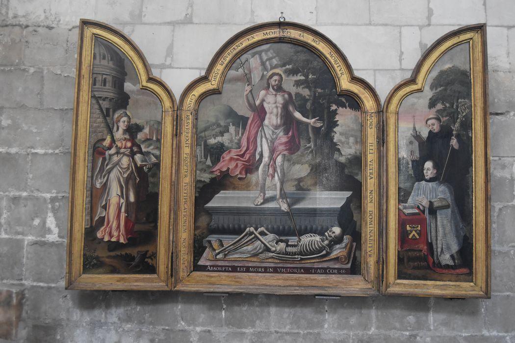 Tableau (triptyque) : Résurrection du Christ, sainte Barbe, saint Robert et le chanoine Robert de saint Martin, donateur
