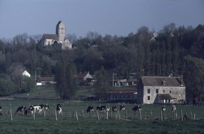 Vue éloignée sur le clocher, maison et vaches au premier plan