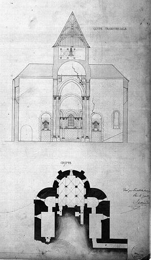 Plan de la crypte et coupe transversale sur le transept