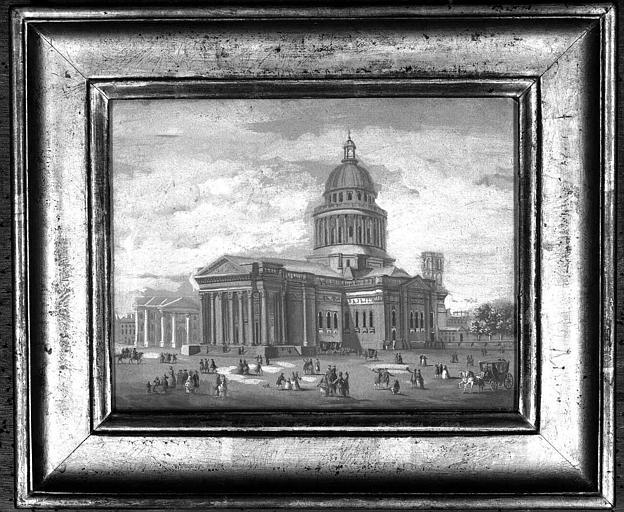 Tableau peint à la gouache : Vue générale de l'église et de la place du Panthéon