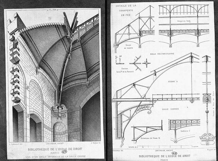 Gravure : Vue perspective d'un angle intérieur de la salle carrée de la bibliothèque et détails de la charpente en fer