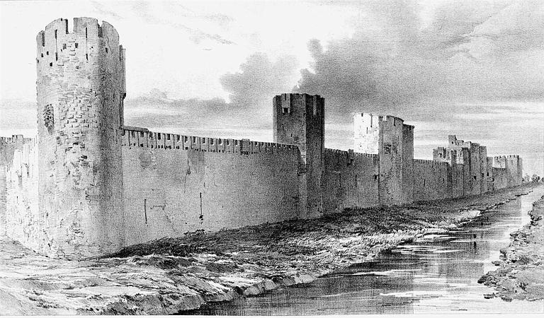 Lithographie : Vue extérieure des remparts côté sud